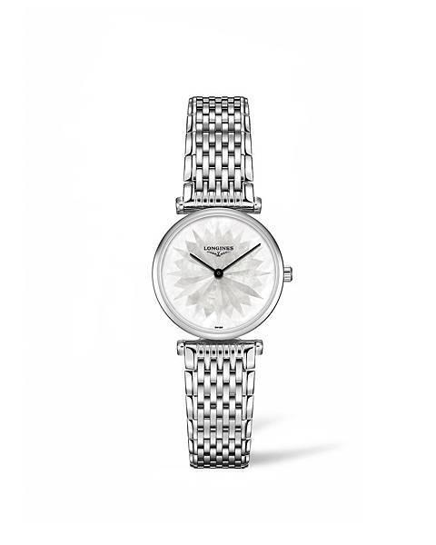 浪琴表嘉嵐系列天空白不鏽鋼鍊帶腕錶 (L4.209.4.05.6),建議售價NTD46,000