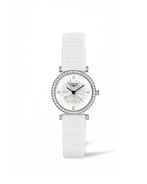 浪琴表嘉嵐系列天空白鑲鑽鱷魚皮腕錶 (L4.241.0.25.2),建議售價NTD125,900