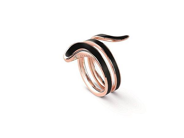 8. EDEN 蛇舞1.2系列玫瑰金黑陶瓷雙圈戒指,建議售價:NTD 54,000