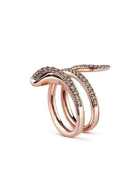 11. EDEN 蛇舞1.2系列玫瑰金鑲鑽雙圈戒指,建議售價請店洽