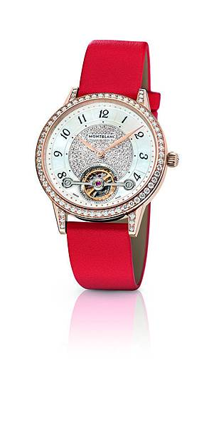114737 萬寶龍Boheme寶曦系列外置陀飛輪超薄珠寶腕錶罌粟紅錶帶款,NT$1,500,400