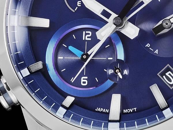8點鐘方向錶眼為第二時區顯示區域