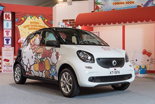 smart創意無限再一發!forfour巧妙變身Hello Kitty專車,與三麗鷗家族成員一起裝可愛