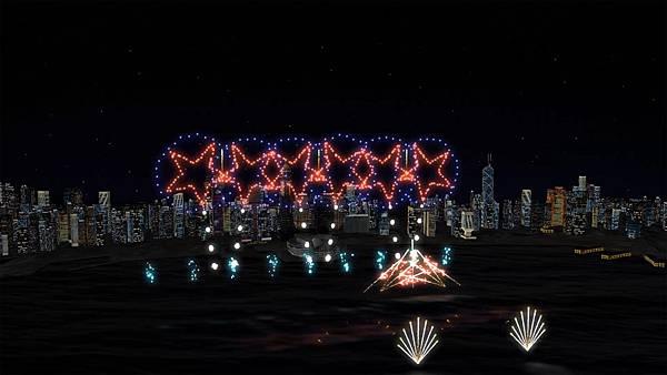 圖1.今年煙火匯演,將首次加入特別的燈光效果於維港海面上,增添許多壯麗氣氛。