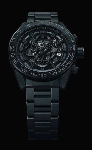 TAG Heuer Carrera HEUER-01 2017新款全黑霧面陶瓷腕錶_黑底情境圖