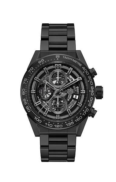 TAG Heuer Carrera HEUER-01 2017新款全黑霧面陶瓷腕錶,建議售價NT$214,200
