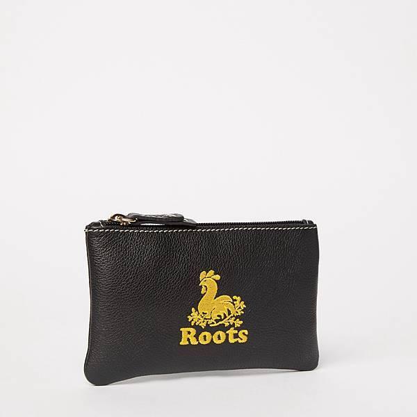 Roots金雞皮革手拿袋_黑
