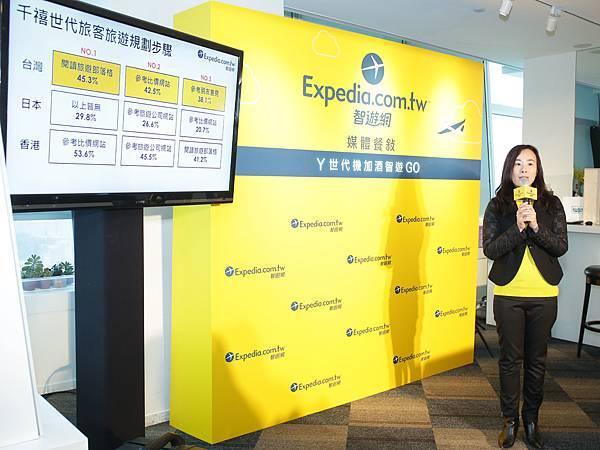 Expedia智遊網台灣區行銷經理林其青小姐分享調查結果 (圖片來源Expedia智遊網)