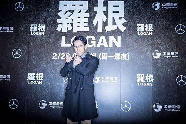 藝人路斯明參與2月27日晚間於台北101水舞廣場舉行的《羅根》電影首映會。