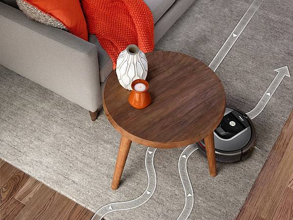 iAdapt 2.0智慧型導航清掃系統,能依據實際環境所有的雜物和家具畫出清掃空間的地圖