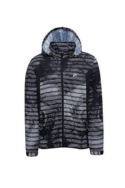 圖1.FILA迷幻旋彩風衣外套-幻影黑(男款),售價$3,980