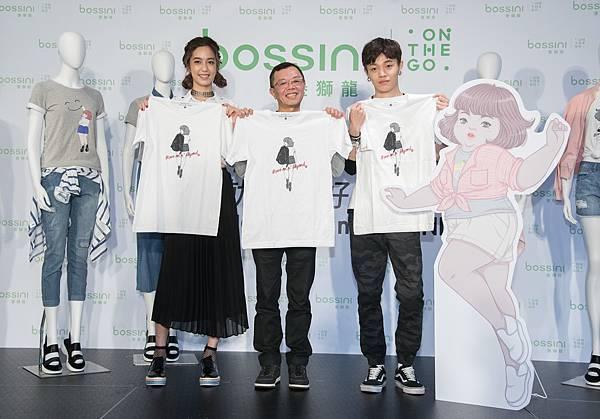 bossini 邀請插畫家H.H先生(右)為「不停止,就是最好的超越」設計限量聯名T, 5月中上市