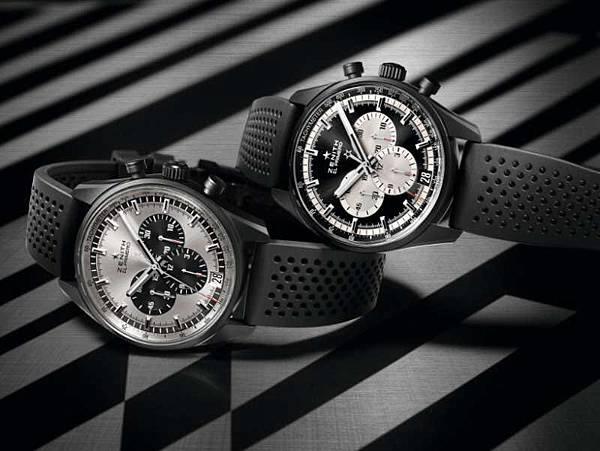 ZENITH El Primero 36,000 VpH腕錶黑白雙雄情境圖。