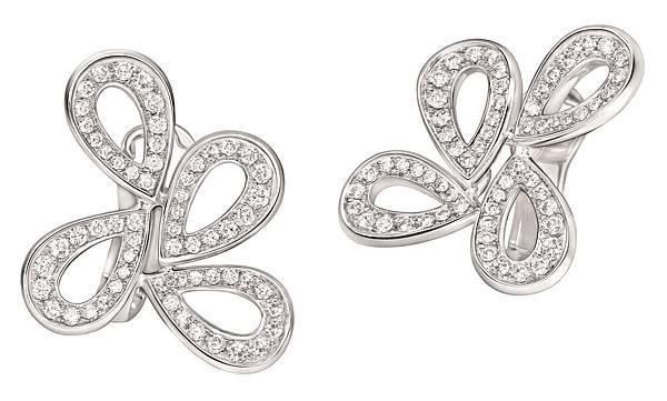 107969 萬寶龍摩納哥葛莉絲王妃系列高級珠寶玫瑰花瓣四片花瓣鑽石耳環,NT$255,400