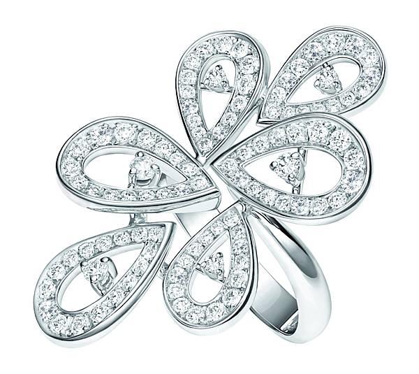 107964 萬寶龍摩納哥葛莉絲王妃系列高級珠寶玫瑰花瓣鑽石戒指,NT$328,000