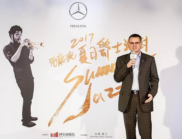台灣賓士贊助的【Mercedes-Benz兩廳院夏日爵士派對】邁入第十一年,總裁邁爾肯表達Mercedes-Benz將持續致力推動藝術與文化