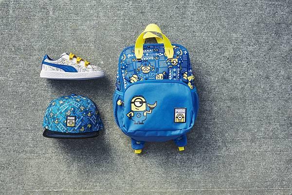 PUMA Minions Basket V NT$1,980、小小兵蓋帽 NT$480、小小兵小後背包 NT$1,080