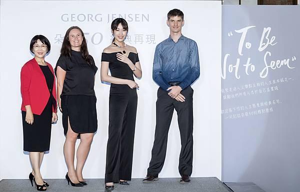 (左至右)台灣喬治傑生董事徐總經理、喬治傑生品牌大使Tine、隋棠、喬治傑生珠寶工藝技術總指導經理Jens