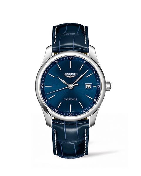 Longines 浪琴表巨擘系列午夜藍鱷魚皮腕錶 (L2.793.4.92.2),錶徑40毫米,建議售價 NT$65,000