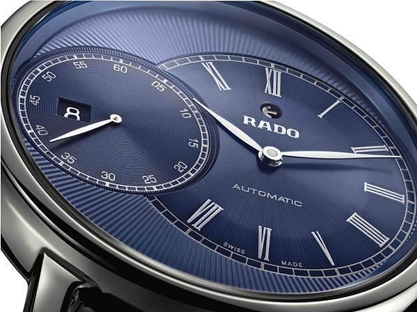 Rado DiaMaster鑽霸系列Grande Seconde電漿高科技陶瓷自動腕錶_藍面細節_建議售價NTD96,500