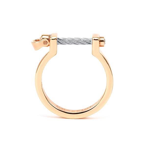 圖5_ PONT D'AMOUR系列戒指玫瑰金款(銀色閂鎖),建議售價NT5,500