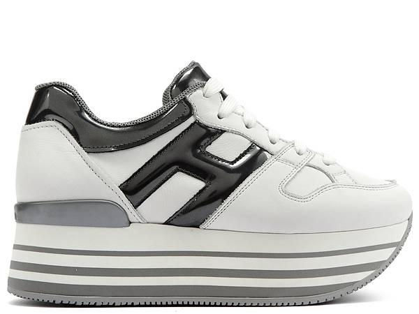 HOGAN Maxi H222異材質拼接白色繫帶休閒鞋$21,200