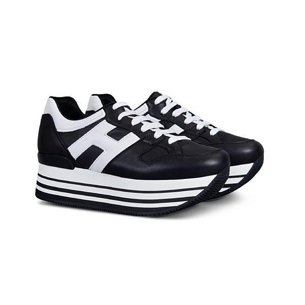 HOGAN Maxi H222異材質拼接黑色繫帶休閒鞋$21,200