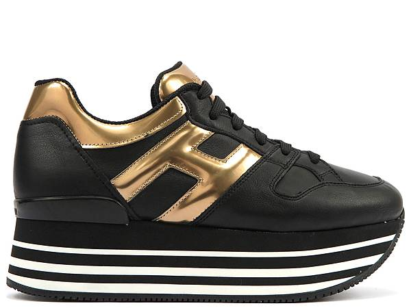 HOGAN Maxi H222異材質拼接金色繫帶休閒鞋$21,200