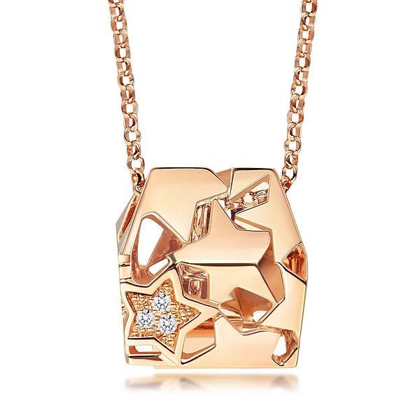 點睛品Love Décodé「愛情密語」18K玫瑰金鑽石頸鍊-建議售價NT$15,800-1