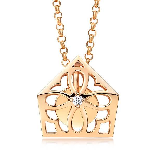 點睛品Love Décodé「愛情密語」18K玫瑰金鑽石頸鍊-建議售價NT$12,800-1