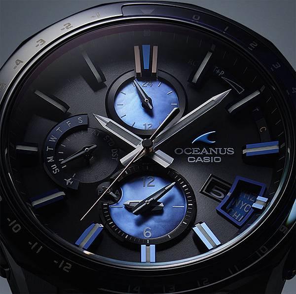 OCW-G2000C-1A 6點鐘與12點鐘方向錶眼由優雅的珍珠母貝製成