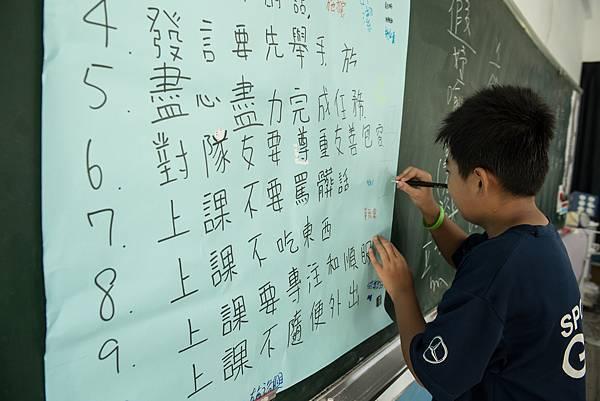 下半年的假日體育班一開始,台電女籃和明道大學帶領青少年寫下屬於自己的學習公約