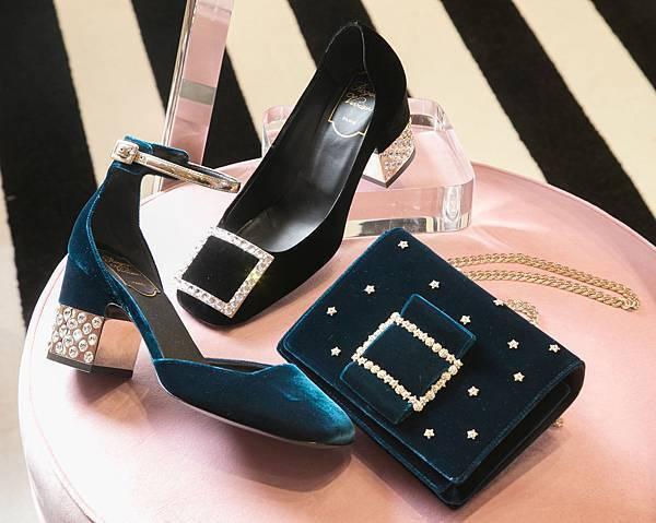 Roger Vivier 期間限定概念店獨賣系列 -(左) Podium天鵝絨繫帶方跟鞋 NT49,600_ (中)Podium 天鵝絨方鑽釦跟鞋NT$52,000_ (右)Stella鏈袋小方包NT$96,200