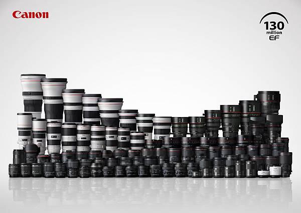 圖一 Canon EF鏡頭系列。Canon 提供一系列能滿足不同拍攝目的之鏡頭選擇,以全面性的產品定位滿足不同攝影師需要,深受全球攝影族群的支持與肯定。