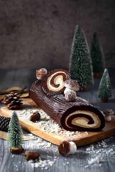 圖2.甘納許榛果樹輪聖誕捲
