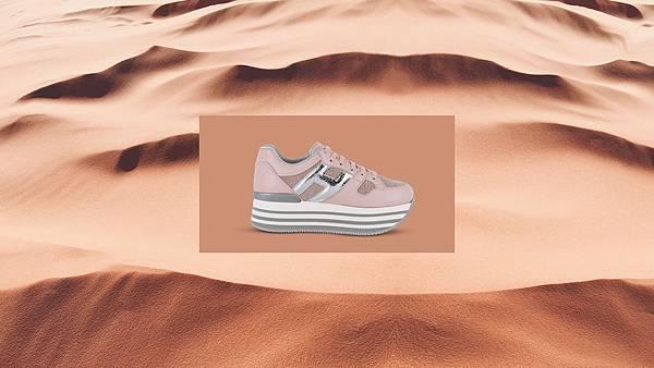 (情境 - 長)台灣限定款- HOGAN MAXI H222 粉紅拼接休閒鞋 NT$20,600