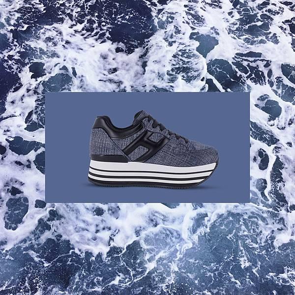 (情境 - 正)全球首賣款 - HOGAN MAXI H222 丹寧拼接休閒鞋 NT$20,600
