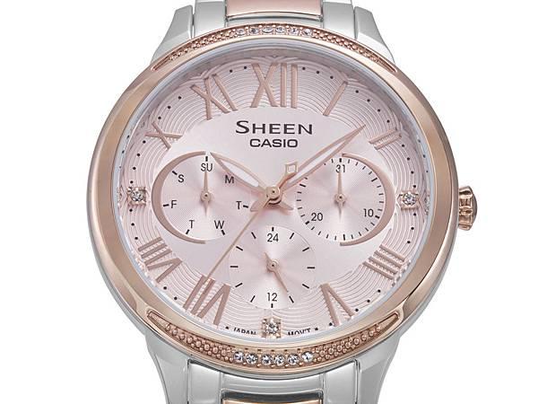 CASIO SHEEN秋冬全新系列 錶圈上下半月形以施華洛世奇®水晶裝飾