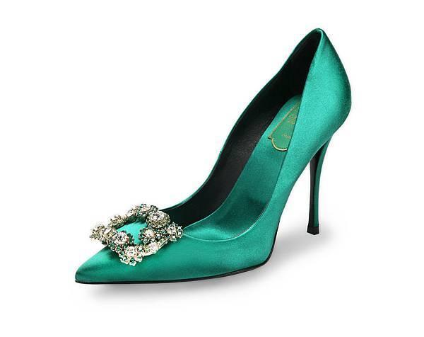Roger Vivier FLOWER STRASS 寶石綠彩色花鑽細高跟鞋 NT$78,200