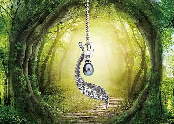 圖1_Trollbeads春季主打─迷人孔雀銀鍊:孔雀珍珠銀鍊NT5,700、迷人孔雀吊墜NT$4,500