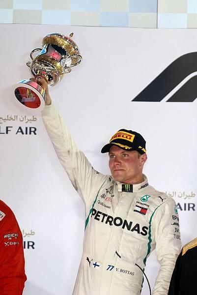 2018年F1巴林站,Mercedes-AMG Petronas Motorsport車隊的Valtteri Bottas以優異表現獲得第二名