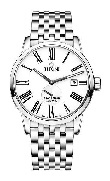 圖10.TITONI SPACESTAR天星系列_銀色蛋白石錶盤精鋼錶帶款_建議售價NT$41,800