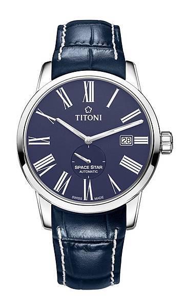 圖7.TITONI SPACESTAR天星系列_尊爵藍蛋白石錶盤牛皮錶帶款_建議售價NT$39,900
