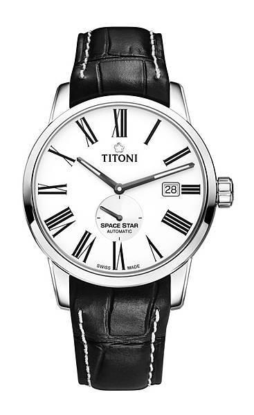 圖5.TITONI SPACESTAR天星系列_銀色錶盤黑牛皮錶帶款_建議售價NT$39,900