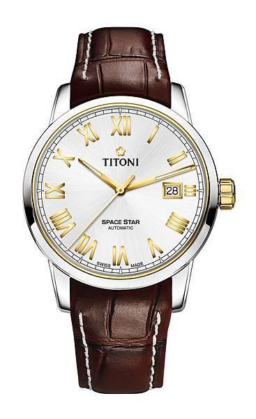 圖9.TITONI SPACESTAR天星系列_銀色錶盤棕色牛皮錶帶款_建議售價NT$37,200