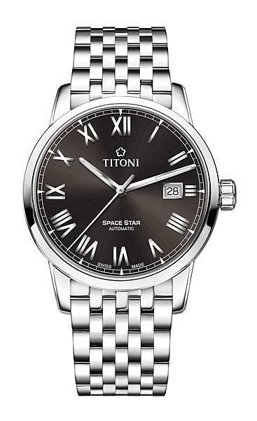 圖6.TITONI SPACESTAR天星系列_晶炭灰錶盤精鋼錶帶款_建議售價NT$38,000