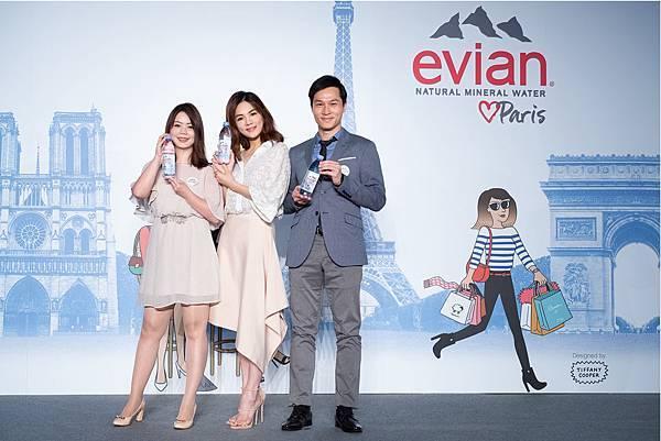 【圖1】Ella與evianR亞太區資深品牌宣傳經理Julie Wang(左)及泰得利股份有限公司行銷協理藍士超(右)合影,宣揚巴黎時尚生活態度。