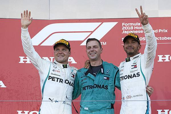 Lewis Hamilton(右)連續兩年於此站奪冠,隊友Valtteri Bottas(左)則以亞軍作收.jpg