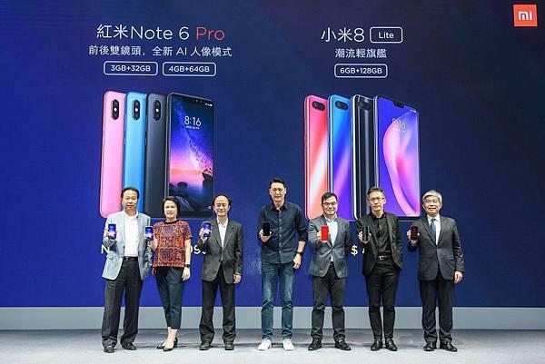 小米攜手合作夥伴與通路夥伴宣布小米8Lite、紅米Note 6 Pro正式開賣(由左至右依序為, 神腦國際策略長邱致忠、台灣之星行銷事業部資深副....jpg