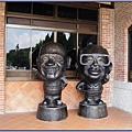 慈湖遊客中心 - 門口旁的兩蔣Q版雕像